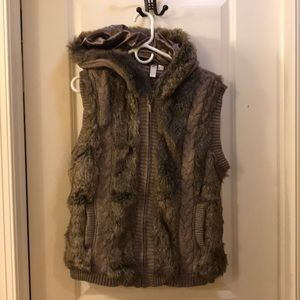Tan hooded furry front vest